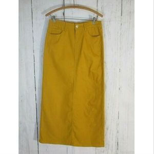"39"" Long Mustard Denim Jean Skirt"